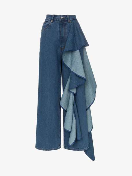 Solace London Tay high-waisted wide leg ruffle detail jeans in denim / denim