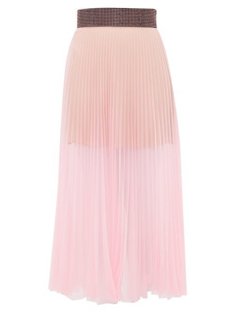 Christopher Kane - Crystal Embellished Pleated Tulle Midi Skirt - Womens - Light Pink