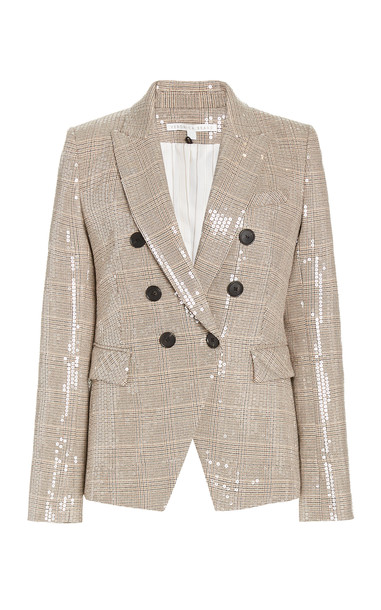 Veronica Beard Miller Sequined Plaid Double-Breasted Blazer in multi