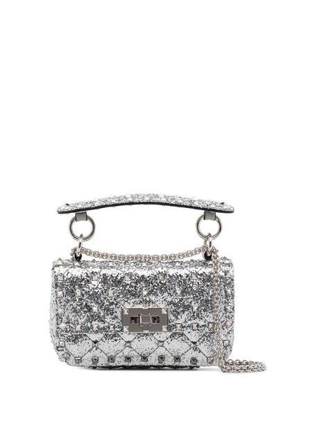 Valentino Garavani Rockstud Spike glitter-effect mini bag in metallic