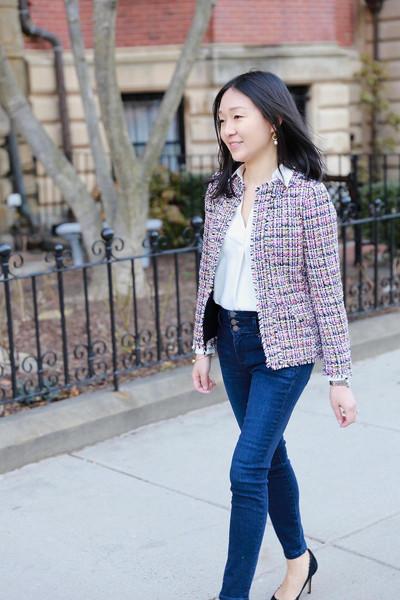whatjesswore blogger jeans jewels shoes tweed jacket