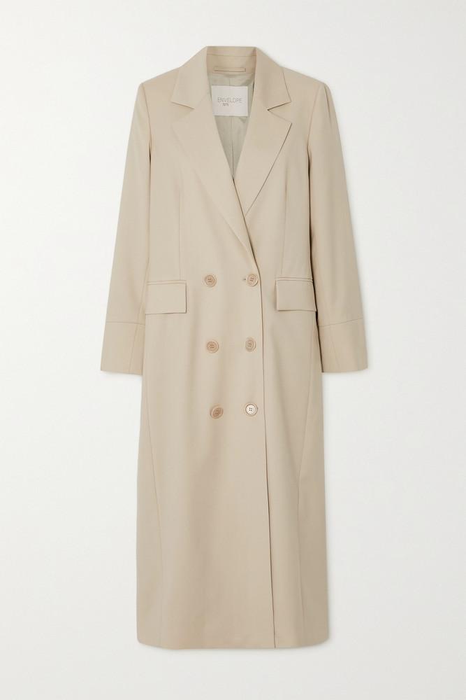 ENVELOPE ENVELOPE1976 - + Net Sustain Gala Double-breasted Wool-gabardine Coat - Cream