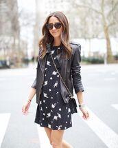 dress,black dress,mini dress,black jacket,black leather jacket,black bag,crossbody bag