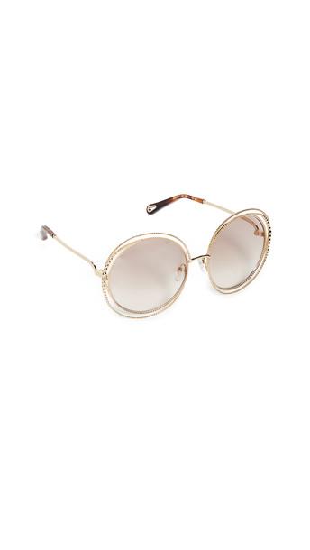 Chloe Carlina Spherical Sunglasses in brown / gold