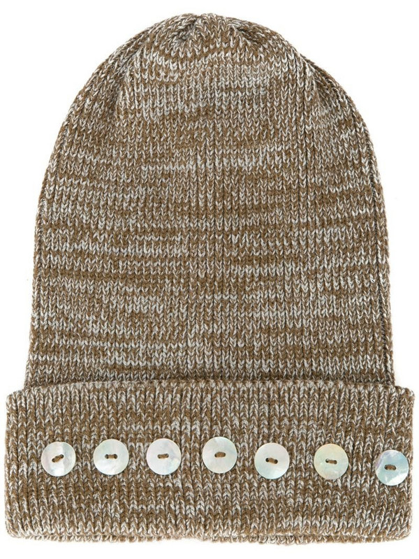 0711 Isola button-embellished beanie in brown