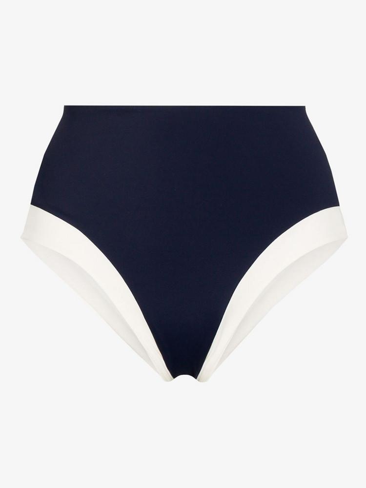 Odyssee high-waist panelled bikini bottoms in blue