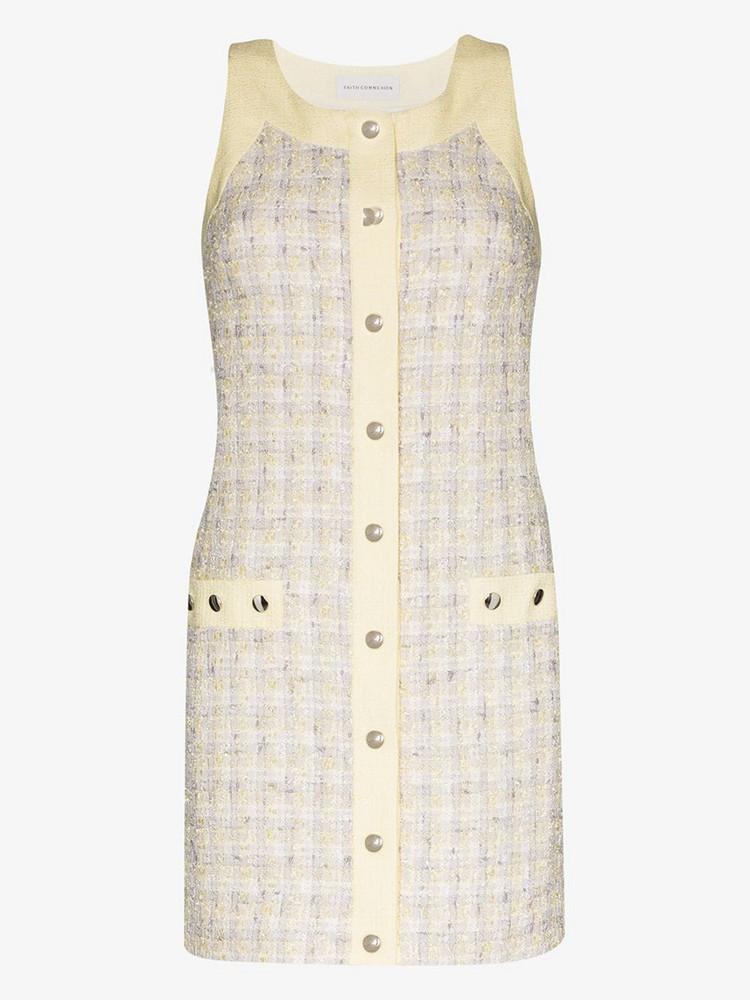 Faith Connexion tweed button mini dress in yellow