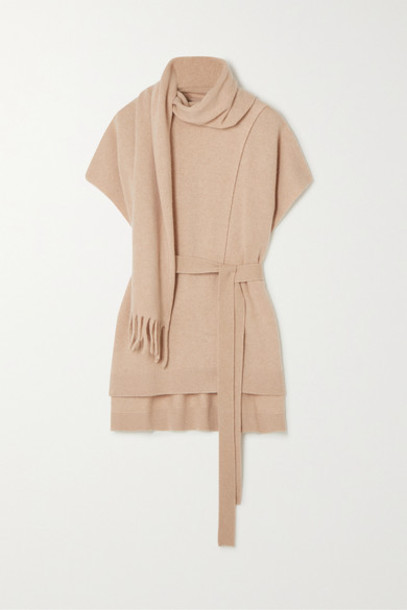 Proenza Schouler - Belted Draped Cashmere Sweater - Camel