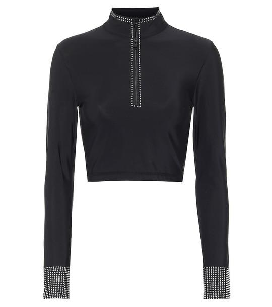Adam Selman Sport Crystal-embellished crop top in black