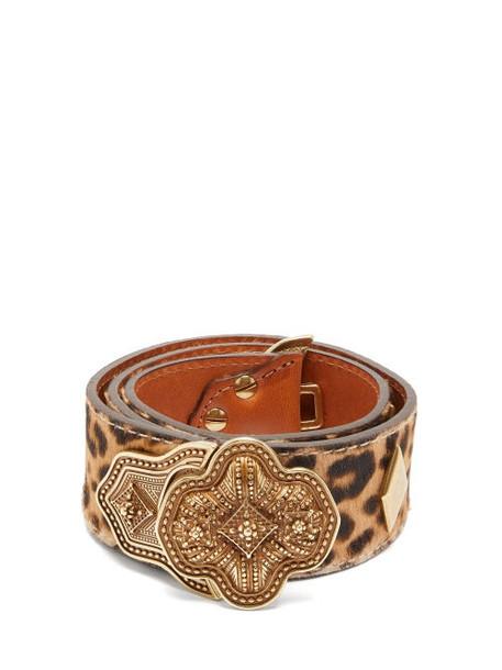 Etro - Leopard Print Pony Hair Effect Leather Belt - Womens - Brown