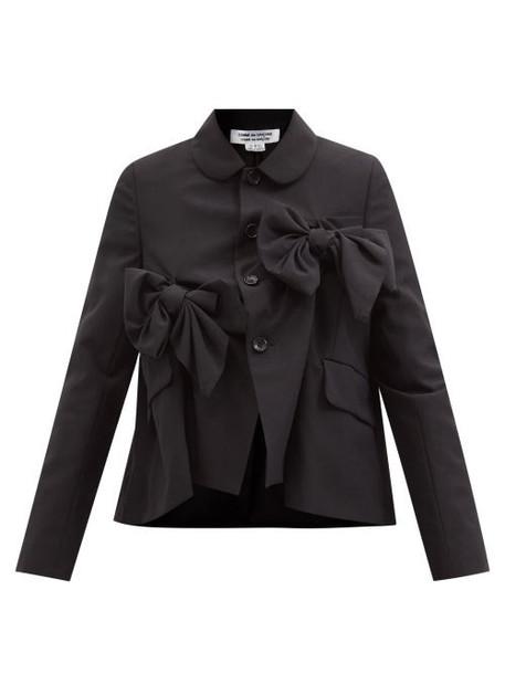 Comme Des Garçons Comme Des Garçons - Bow-appliqué Wool-twill Jacket - Womens - Black
