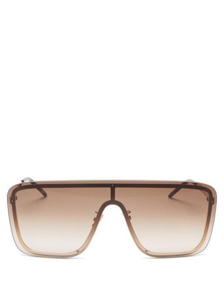 Saint Laurent - Oversized Mask Metal Sunglasses - Womens - Gold