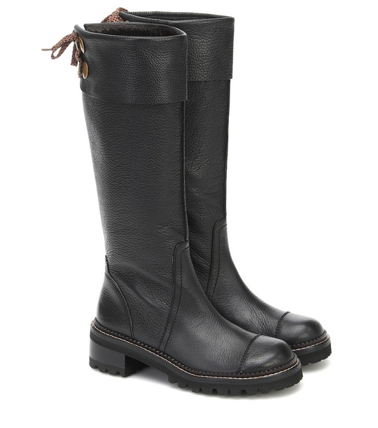 See By Chloé Knee-high leather boots in black