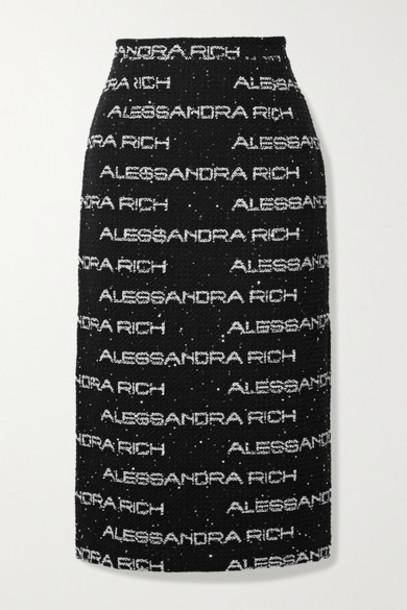 Alessandra Rich - Sequin-embellished Cotton-blend Bouclé Midi Skirt - Black