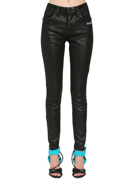 OFF-WHITE Coated Skinny Jeans in black