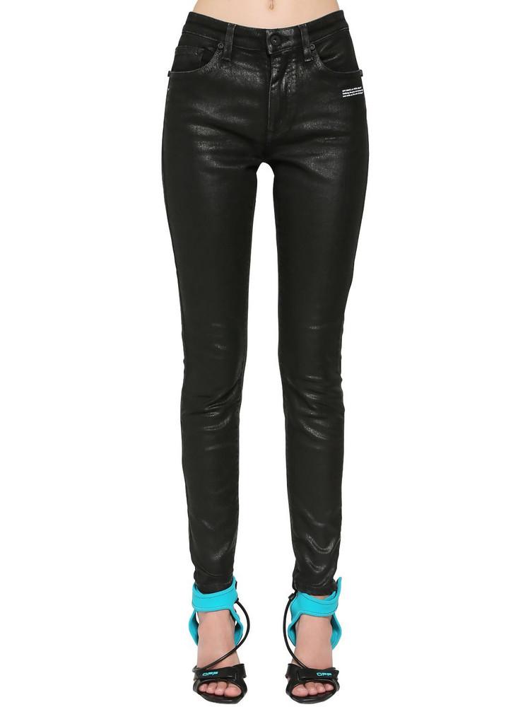 OFF-WHITE Coated Skinny Jeans in black