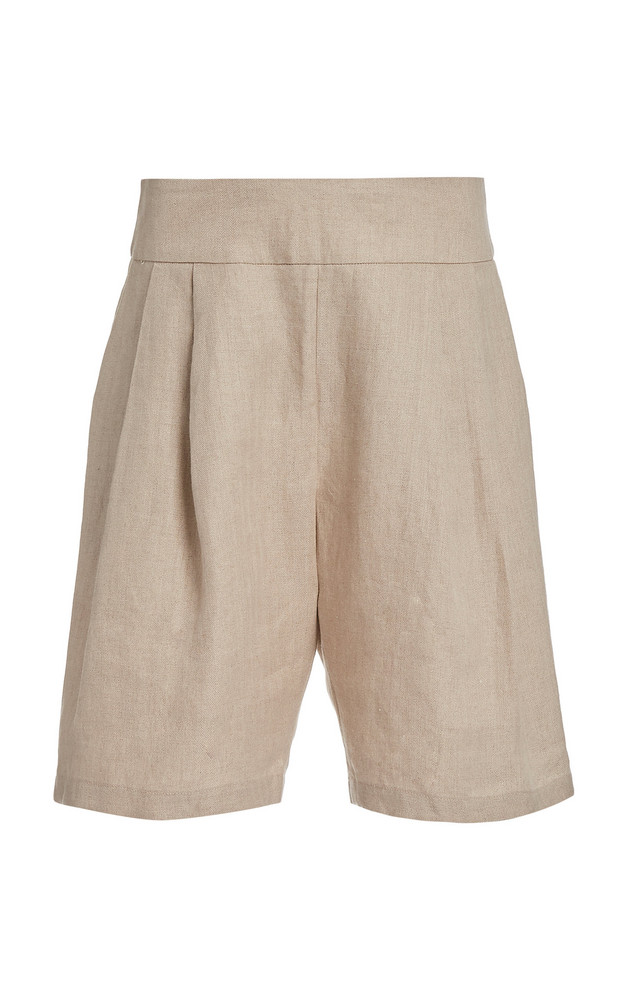 Matin Pleated Cotton-Twill Shorts in neutral