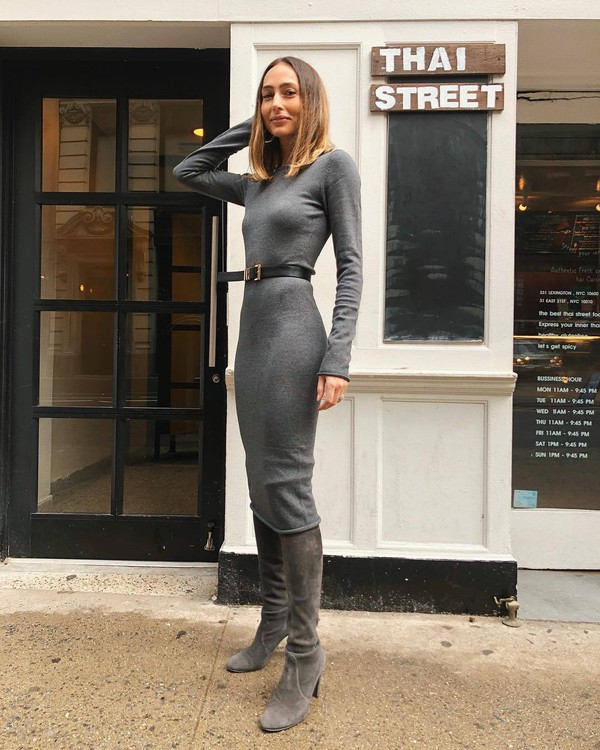 shoes over the knee boots grey boots suede heel boots midi dress grey dress knitted dress black belt something navy