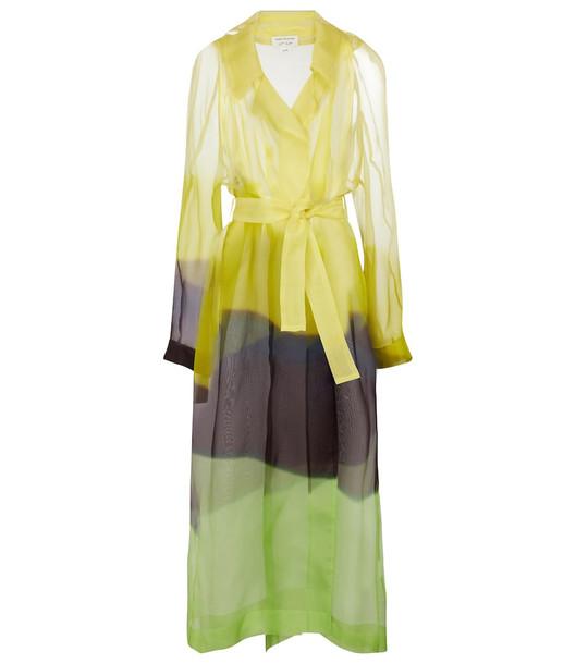 Dries Van Noten Printed belted silk tulle coat in yellow