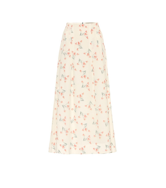 Roland Mouret Exclusive to Mytheresa – Badby floral seersucker midi skirt in white