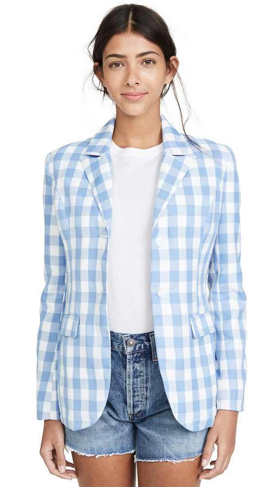 ENGLISH FACTORY Gingham Blazer in blue