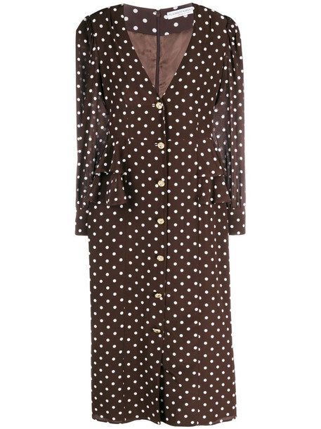 Alessandra Rich polka dot button-through midi dress in brown
