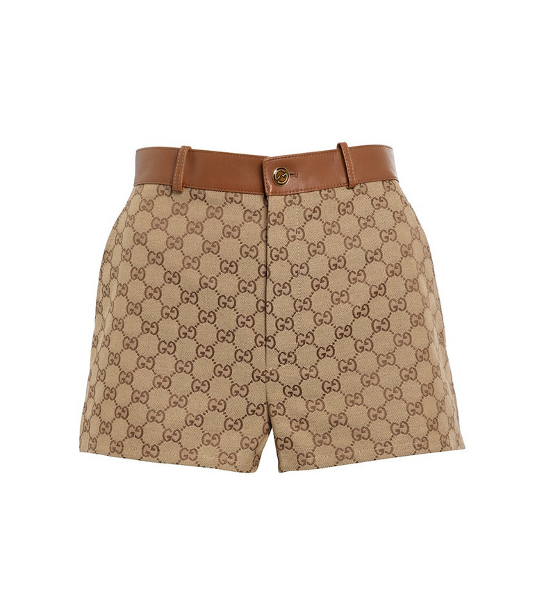 Gucci GG Supreme leather-trimmed shorts in brown