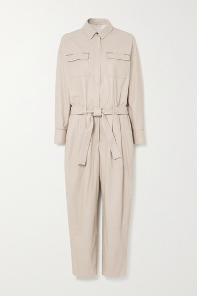 Brunello Cucinelli - Bead-embellished Belted Leather Jumpsuit - White