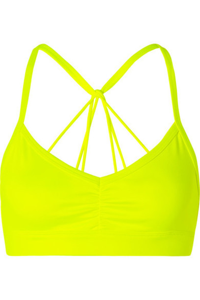 Alo Yoga - Sunny Neon Ruched Stretch Sports Bra - Bright yellow