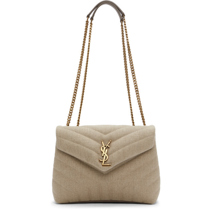 Saint Laurent Beige Quilted Small Loulou Bag in taupe