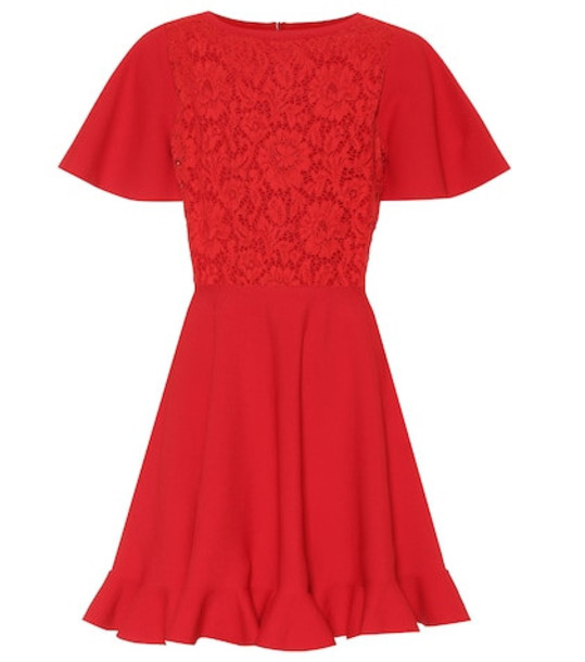 Valentino Lace-paneled minidress in red