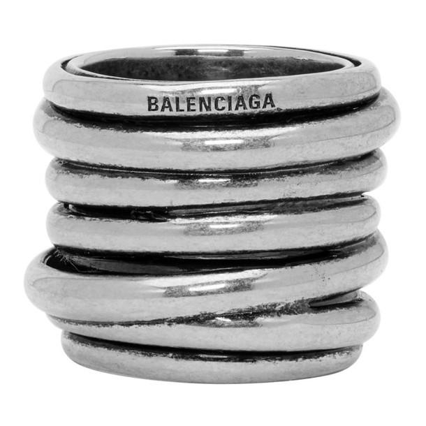 Balenciaga Silver Multirings Ring