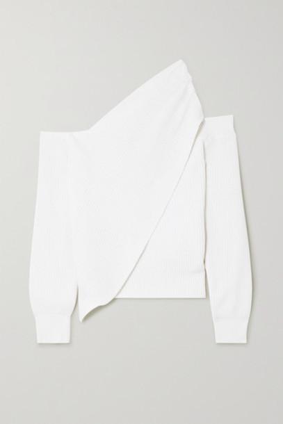 RtA - Juliet One-shoulder Draped Cotton Sweater - White