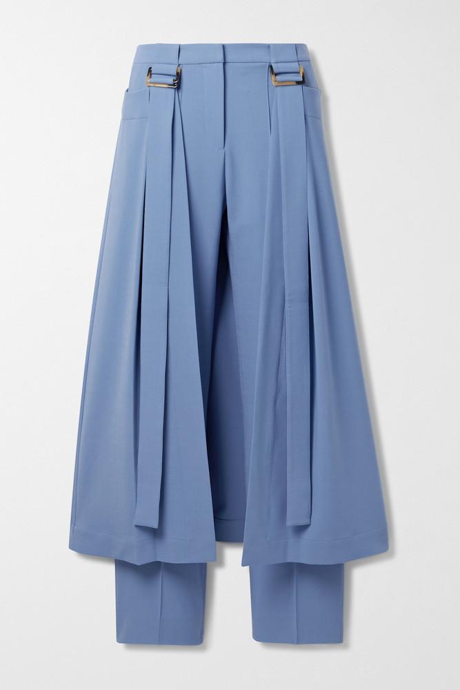 PALMER/HARDING PALMER//HARDING - Reona Layered Grain De Poudre Straight-leg Pants - Blue