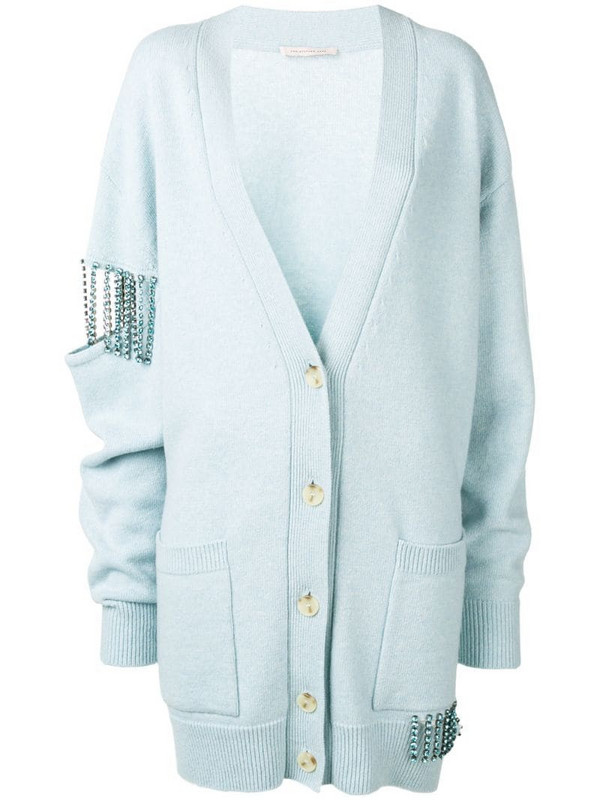 Christopher Kane crystal cupchain cardigan in blue
