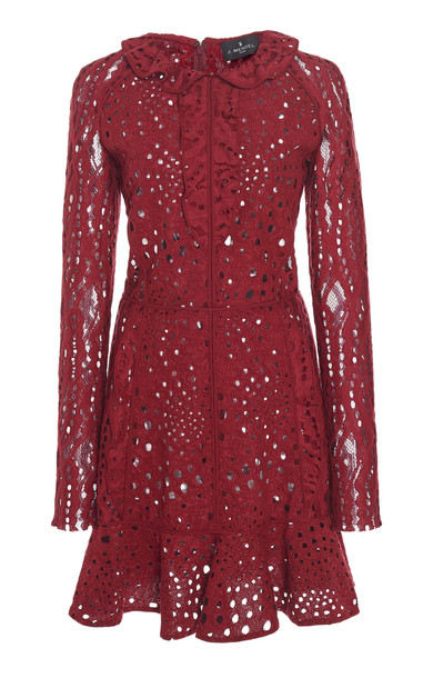J. Mendel Collared Broderie Anglaise Mini Dress Size: 12 in red