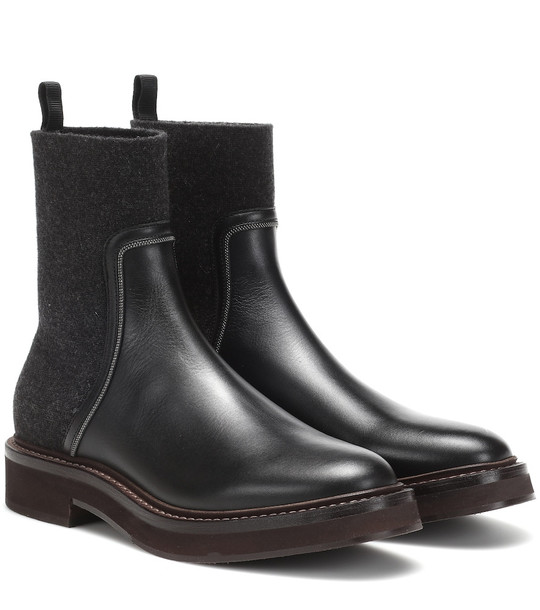 Brunello Cucinelli Leather and cashmere ankle boots in black