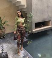 blouse,green,pants,brown printed pants