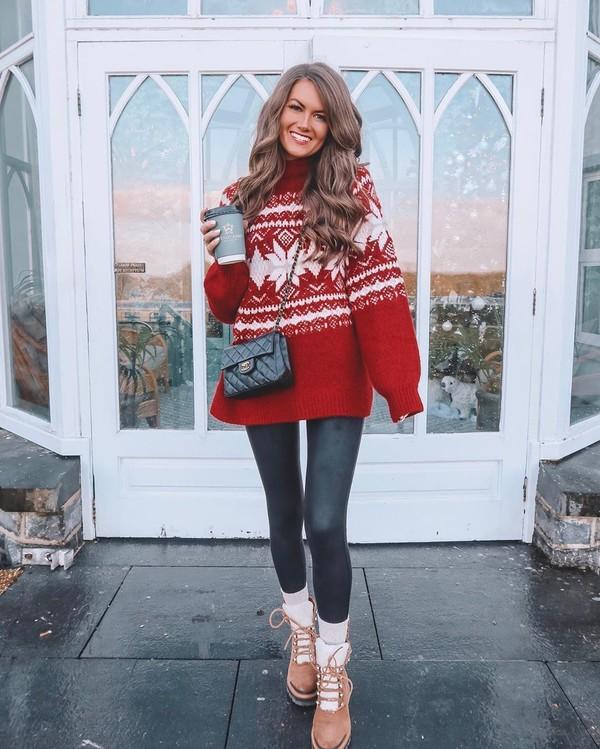 pants red sweater ankle boots black leggings black bag crossbody bag