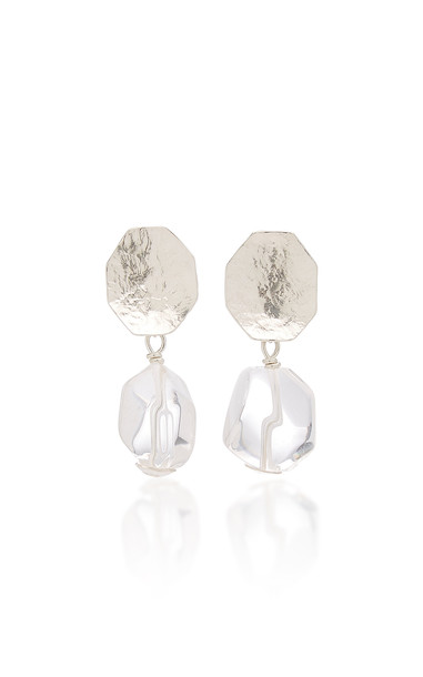Annie Costello Brown Sterling Silver And Crystal Earrings