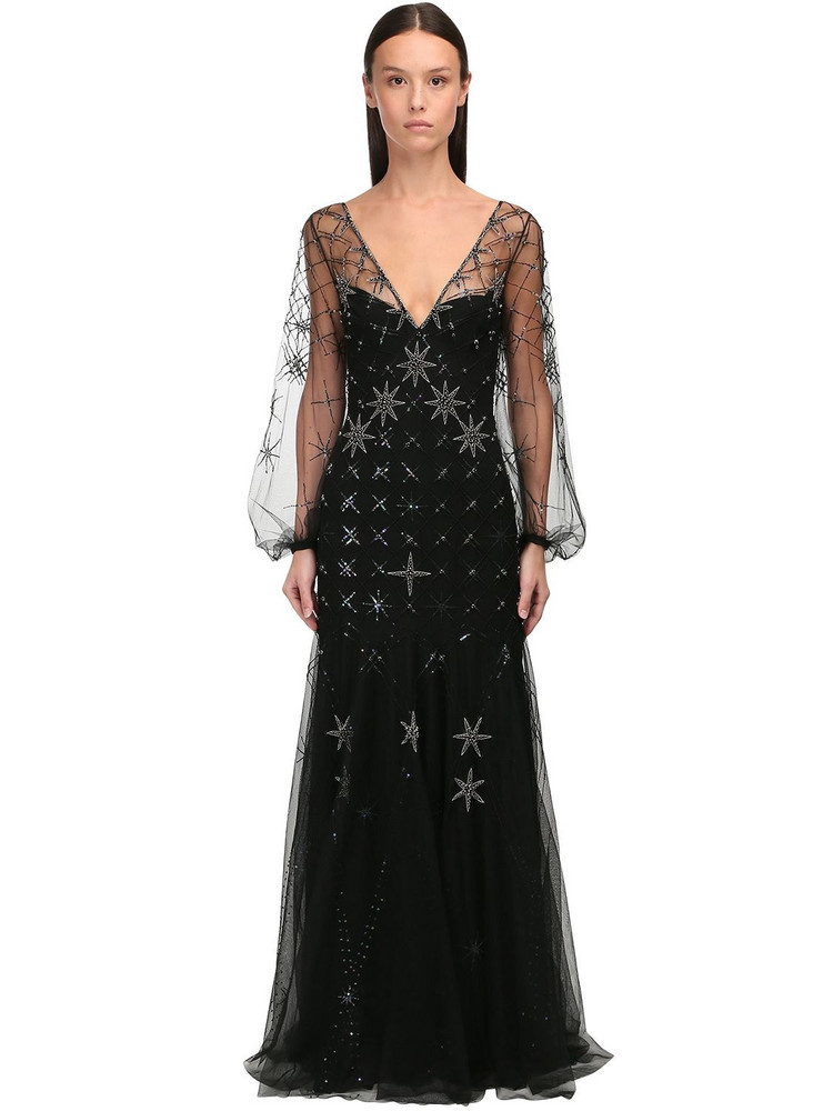 TEMPERLEY LONDON Crystal Embroidered Georgette Dress in black