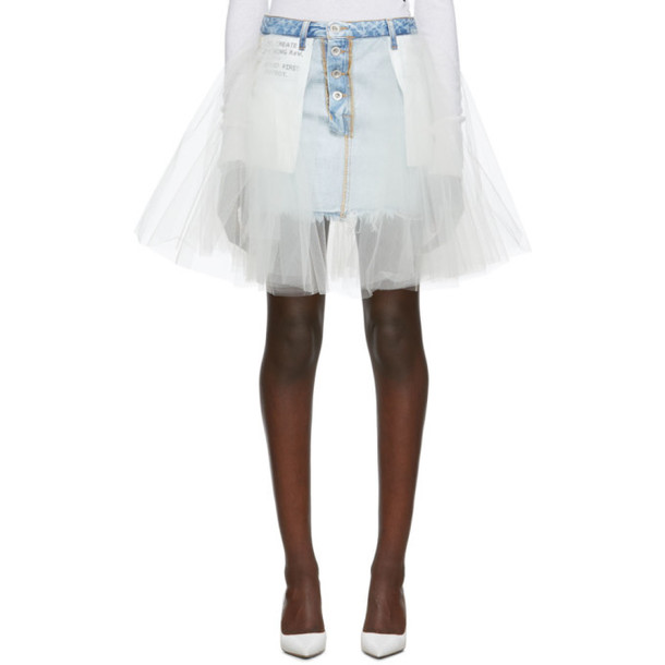 Unravel Indigo Reverse Mini Denim Tulle Skirt