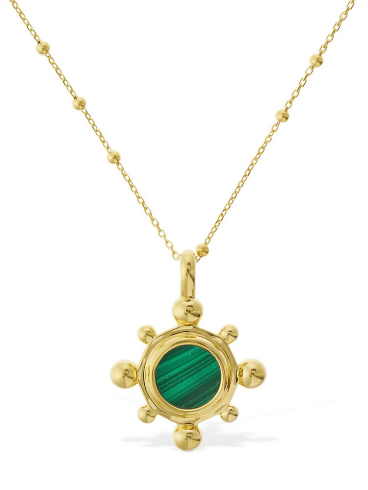 MISSOMA Malachite Charm Long Necklace in gold / green