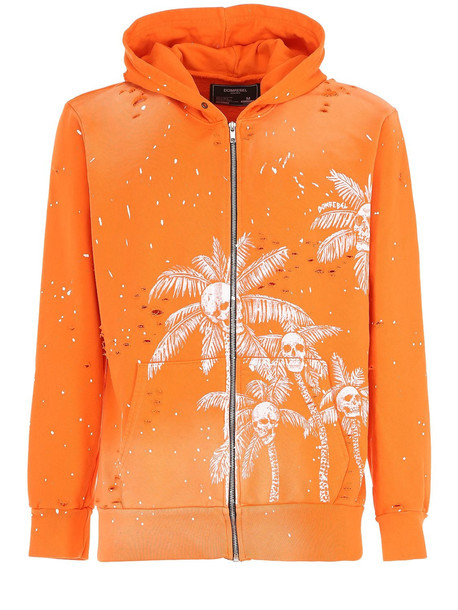 DOMREBEL Palm Skull Zip-up Sweatshirt Hoodie in orange