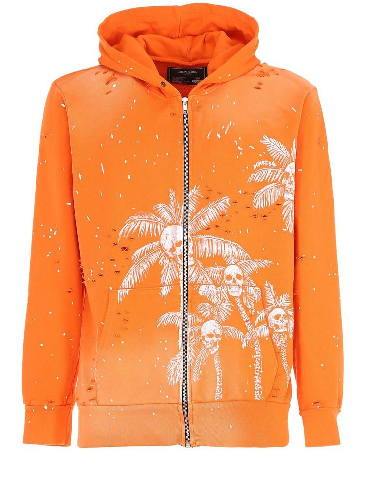 DOMREBEL Palm Skull Zip-up Sweatshirt Hoodie in orange