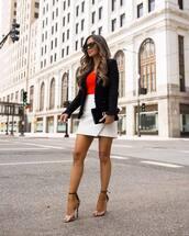 shoes,clear shoes,sandal heels,plaid skirt,skirt,mini skirt,jacket,red top,top