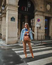 bag,brown bag,lace up boots,straight pants,denim jacket,sweater