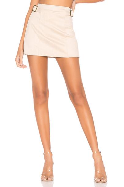 superdown Corilee Suede Skirt in tan