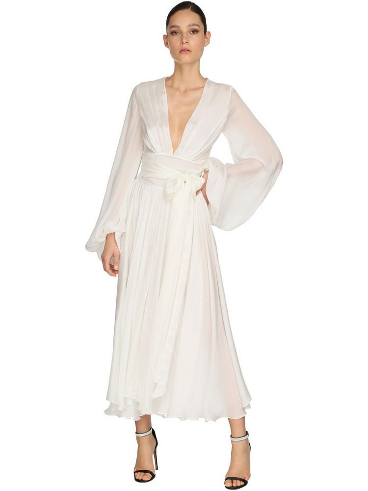 ALEXANDRE VAUTHIER Satin Chiffon Dress in white