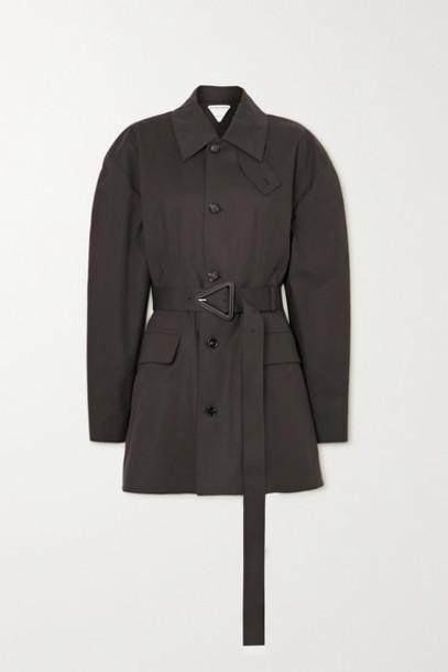 Bottega Veneta - Belted Bonded Stretch-cotton Jacket - Brown